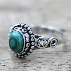 Malachite cocktail ring, 'Hypnotic Forest' - Artisan Designed Sterling Silver and Malachite Cocktail Ring (image 2b)