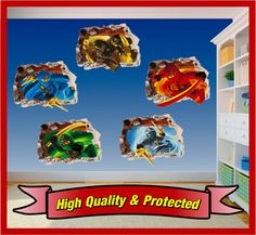 Lego Ninjago Set Hole in Wall Art Stickers Decal Childrens Bedroom Boys and Girls