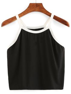 To find out about the Contrast Trim Crop Cami Top at SHEIN, part of our latest Tank Tops & Camis ready to shop online today! Cami Tops, Cami Crop Top, Cute Crop Tops, Crop Shirt, Crop Tank, Shirt Vest, Halter Crop Top, Basic Tank Top, Summer Outfits