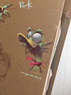 Pastel on IKEA box -- crazy ducky