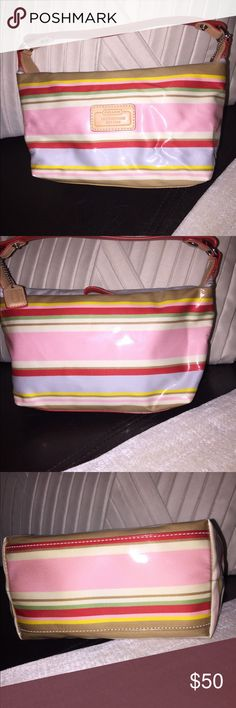 Small Coach Multi-Color Bag Multi-Color Coach Handbag. Can also be used as a cosmetic bag. Thank you for checking my closet! Coach Bags Mini Bags