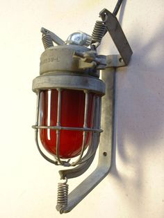 VTG Explosion Proof Light Fixture Wall Sconce Industrial Red Globe NOS