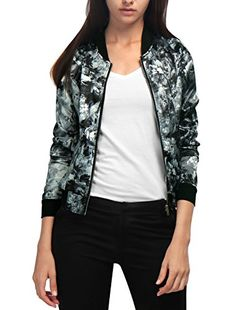 Allegra K Women's Long Sleeves Stand Collar Zip Up Floral Bomber Jacket Grey S Floral Bomber Jacket, Printed Bomber Jacket, Gray Jacket, Summer Jacket, Woman Standing, Zip Ups, Floral Prints, Grey, Long Sleeve