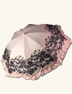 lisbeth dahl regenschirm schirm creme schwarz gestreift mit breiter r sche accessoires. Black Bedroom Furniture Sets. Home Design Ideas