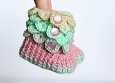 Your place to buy and sell all things handmade Crochet Ideas, Crochet Patterns, Crochet Hats, Crocodile Stitch, Month Colors, Easter Colors, Baby Feet, Learn To Crochet, Baby Booties