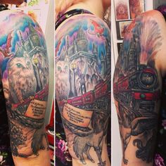 """The Hogwarts Express.   42 Insane """"Harry Potter"""" Tattoos Only Muggles Would Hate"""
