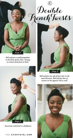 5 Quick and Easy Bridesmaid Hairstyles #theeverygirl #TEGweddingweek #double French twists
