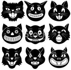 stock-illustration-9914570-halloween-cat-heads.jpg 380×379 pixels
