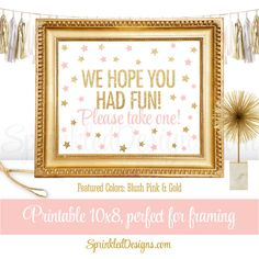 51ac5e59894 Party Favor Sign - We Hope You Had Fun Please Take One - Blush Pink Gold  Glitter Twinkle Little Star