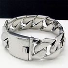 """COOL SHINY HEAVY 135g CURB CHAIN Stainless Steel Bracelet 8.2"""" 24mm NEW- - http://jewelry.goshoppins.com/mens-jewelry/cool-shiny-heavy-135g-curb-chain-stainless-steel-bracelet-8-2-24mm-new/"""
