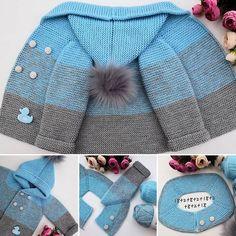 Best 12 Easy and reliable crochet free patterns – Diy Rustics – SkillOfKing. Baby Boy Knitting Patterns, Baby Sweater Knitting Pattern, Knitting For Kids, Free Knitting, Knitted Baby Clothes, Baby Coat, Baby Cardigan, Green Cardigan, Baby Sweaters