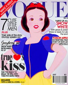 Disney princesses on the covers of magazines.