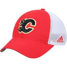 Calgary Flames adidas On Ice Meshback Slouch Flex Hat - Red White   affiliate Adidas 3a07578684c1