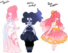 Pink Opalite,Phanton Amethist and Rose Sapphire by Steven Universe Fusion, Steven Universe Diamond, Steven Universe Characters, Lapidot, The Villain, Character Design Inspiration, Drawing Reference, Character Art, Adoption