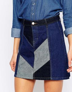 Image 3 of River Island Patchwork Denim Skirt