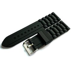 Generic 24mm Men's Black Silicone Rubber Watch Straps Bands Waterproof for Fossil Watch Replacement Check https://www.carrywatches.com Generic 24mm Men's Black Silicone Rubber Watch Straps Bands Waterproof for Fossil Watch Replacement