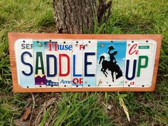 SADDLE+UP+Custom+Recycled+LICENSE+Plate+Art+by+CustomPlateArt4U,+$50.00