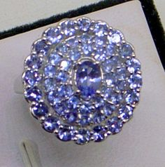 Tanzanite Ring  Size 6.5  Sterling Silver  3 Carats  by JanEleven