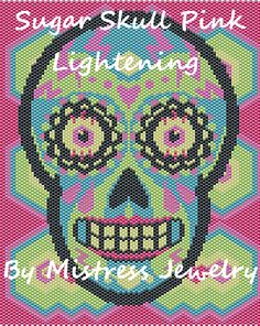 Sugar Skull Pink Lightening Word Map & Chart | Bead-Patterns