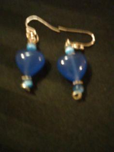 Sky Blue Hearts Drop Earrings by SheilasJewels on Etsy