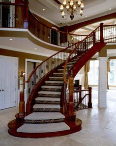 The Architecture Designs presents 22 beautiful traditional staircase design ideas to turn your traditional staircases into a unique one. Explore all ideas here. Luxury Staircase, Spiral Staircase, Staircase Design, Staircase Ideas, Home Design, Design Ideas, Traditional Staircase, Stair Decor, Trendy Home