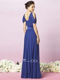 Blue Bridesmaid Dresses | long blue Bridesmaid Dress with Draped Sleeve - BridesmaidLook.co.uk