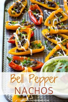 This bell pepper nachos recipe makes a great side dish! Mini bell pepper halves topped with black beans and melted cheese then drizzled with sour cream. Clean Dinner Recipes, Clean Eating Dinner, Clean Eating Recipes, Lunch Recipes, Mexican Food Recipes, Healthy Appetizers, Appetizer Recipes, Healthy Snacks, Healthy Eating