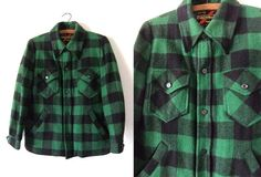Buffalo Plaid Flannel Shirt Jacket - 70s Vintage Grunge Style Wool Lined Coat - Mens S