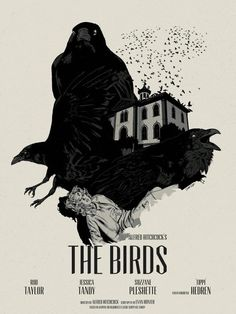 Hitchcock Collection / The Birds - Poster de Cranio Dsgn. Gig Poster, The Birds Movie, Alfred Hitchcock The Birds, Crow Movie, Hitchcock Film, Horror Posters, Alternative Movie Posters, Graphic Design Posters, Book Cover Design