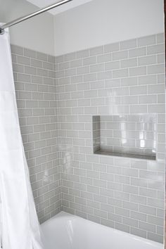 Shower niche using subway tiles Hall Bathroom, Upstairs Bathrooms, Bathroom Interior, Gray Bathrooms, Bathroom Showers, Bathroom Tubs, Bathroom Grey, Grey Tile Shower, Master Bathrooms