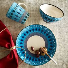 I would like a set of these, too, magically for now money. Potter's Workshop Tableware – Blue | West Elm