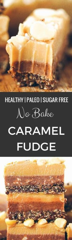 Three layers of caramel fudge- refined sugar free, raw, and paleo. Tastes like Christmas candy- but it's healthy, so you can eat more, right?!