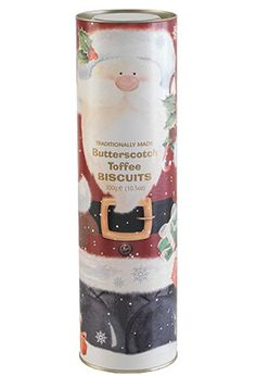 The British call them biscuits. Whatever you call them, your mouth will water as you munch on Santa's luscious Butterscotch Toffee cookies, and on delicious Cranberry Crunch cookies from the Queen's Guard—all baked by traditional methods, using the finest ingredients for recipes handed down from one generation to the next. More than a foot tall, each giant tube makes a dandy hostess gift and fills a stocking all by itself.