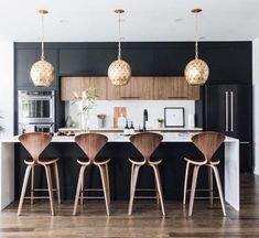 Modern Kitchen Interior Remodeling Fall Interior Trend: Bold, Rich AccentsBECKI OWENS - Check out how these spaces combine clean whites with moody accents to create a room that feels sophisticated yet inviting, and perfect for fall. Modern Farmhouse Kitchens, Black Kitchens, Home Kitchens, Rustic Farmhouse, Modern Kitchen Design, Interior Design Kitchen, Interior Paint, Modern Design, Interior Decorating