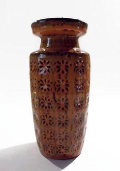Scheurich vintage orange Prisma vase 26122  by CzechGlassCollector