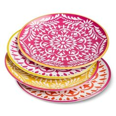 outdoor dining melamine Mudhut Multi-colored Mosaic Design Dinner Plates Set of 4 - Pink/Red