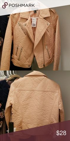Faux Leather Moto Jacket A faux leather moto jacket featuring an asymmetrical zip-up front with snap-button closure on hem, notched lapels, zippered pockets on front, snap-button epaulettes, and long sleeves  with zippered accents. Forever 21 Jackets & Coats
