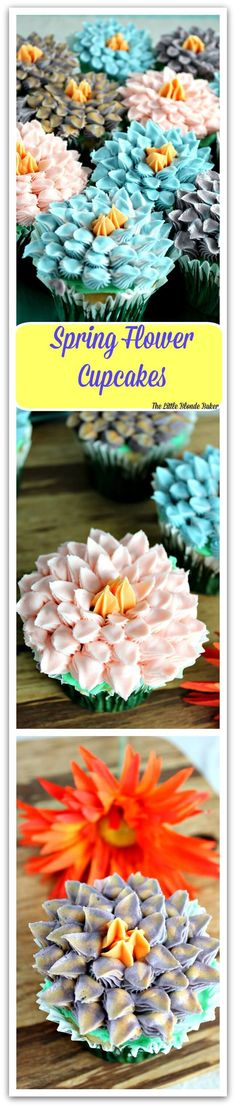 Spring Flower Cupcakes, beautiful colors and perfect for Spring. Easy to make. Any beginner decorator will have no problem looking like a pro!