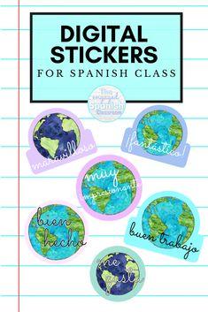Spanish digital stickers! #distancelearning #teachmorespanish #theengagedspanishclassroom Study Spanish, Spanish 1, Spanish Teacher, Spanish Classroom, Middle School Spanish, School Plan, Spanish Activities, Grammar Lessons, Class Decoration