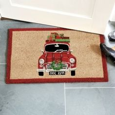 The holidays are here! Meet them at the door with our charming Holiday Car Coir Mat. The vintage car motif was created by our own in-house artist. Hand woven of natural coco fibers and hand stenciled using fade-resistant dyes.