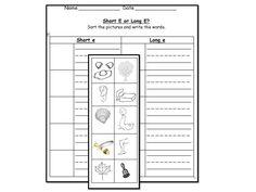 Short E & Long E Picture Sort    http://www.teacherspayteachers.com/Product/Long-E-vowel-sound-literacy-center-activities-worksheets