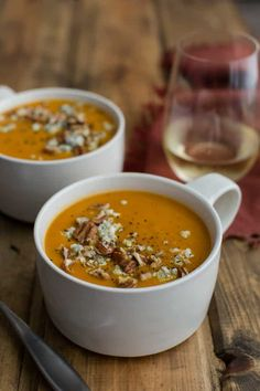 Smoked Paprika Sweet Potato Soup with blue cheese | @naturallyella