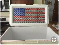 Make your own USA – American flag out of used bottle caps (red, white, blue) 136 total blue, 56 red, 56 white – Phi Mu – New Epoxy Nola Cooler, Diy Cooler, Coolest Cooler, Frat Coolers, Painted Fraternity Coolers, Formal Cooler Ideas, Cooler Connection, Cooler Designs, Beer Pong Tables