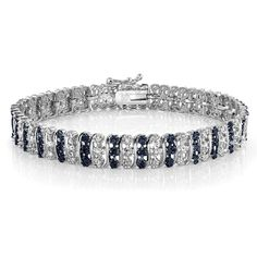 693fa5366 TDW Treated Blue & White Diamond S Pattern Tennis Bracelet in Brass in  Jewelry & Watches, Fine Jewelry, Fine Bracelets