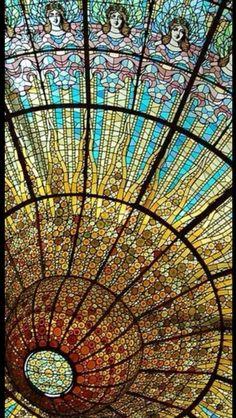 Magnificent Art Nouveau stained glass at the Palau de la Música Catalana, Barcelona Spain