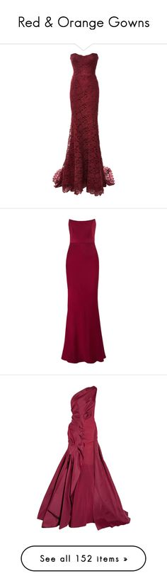 """Red & Orange Gowns"" by sakuragirl ❤ liked on Polyvore featuring dresses, gowns, long dresses, vestidos, bordeaux, long lace evening dress, red ball gown, red strapless dress, long red dress and red lace dress"