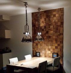 Mega Square - ReWood Houtstrips Decor, Wood Decor, Wood Interior Design, Living Room Decor Apartment, Brick Design, Home Decor, Apartment Decor, Wall Paneling, Painted Paneling