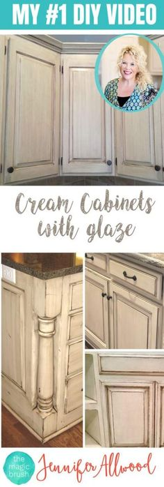 How to paint Cream Cabinets with glaze. This is my selling DIY Video for updating your kitchen with painted cabinets. It's easy and goes with several kitchen styles - farmhouse kitchens, shabby chic kitchens and more. Kitchen Cabinet Makeovers are inex Kitchen Style, Chic Kitchen, Cream Cabinets, Painting Cabinets, Shabby Chic Kitchen, New Kitchen Cabinets, Diy Kitchen, Kitchen Cabinets Makeover, Shabby Chic Homes