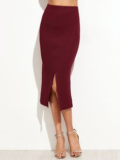 Burgundy Split Front Ribbed Sweater Pencil Skirt — 0.00 € -------color: Burgundy size: one-size