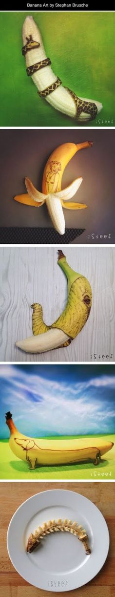Funny pictures about Clever Banana Art. Oh, and cool pics about Clever Banana Art. Also, Clever Banana Art photos. Banana Art, Amazing Art, Awesome, Art Sculpture, Jolie Photo, Food Art, Creative Art, Art Drawings, Art Photography